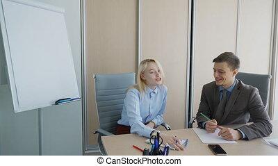 bureau, professionnels, paper., garder, enregistrement, amical