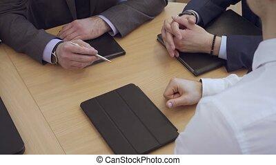 bureau., réunion, avoir, professionnels