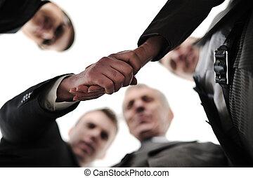 bureau, réussi, constitué, équipe, deux mains, devant, homme affaires, secousse