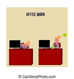 bureau, snoozing, pensée, argent, jeune, femme affaires, bureau, secrétaire