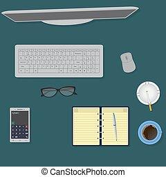 bureau, sommet, espace de travail, organisation, table., concept., vue