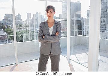 bureau, sourire, femme affaires