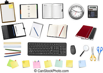 bureau, supplies., vector., quelques-uns