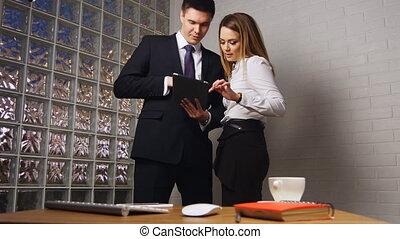 bureau, tablette, affaires gens, pc, réunion