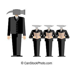 bureau., vecteur, réunion, anvil., relations., donne, subordinates, scolds., boss-hammer, direction, business, chef, illustration