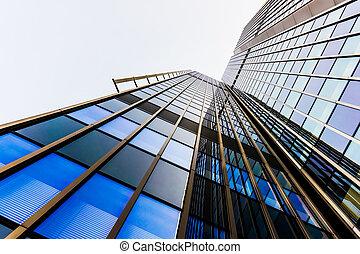 bureau, verre, bâtiments., gratte-ciel, silhouettes.