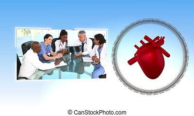 bureau, vidéos, monde médical