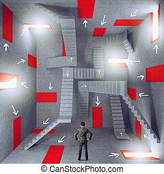 bureaucratie, doors., salle, tension, entiers, concept, homme affaires