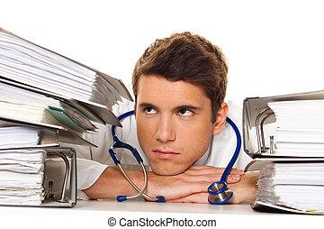 bureaucratie, tension, files., docteur, hospital., piles