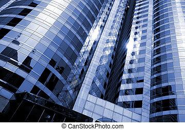 bureaux, gratte-ciel, extérieur