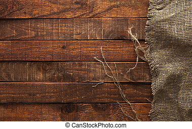burlap, sommet, sombre, bois, vieux, texture, vue