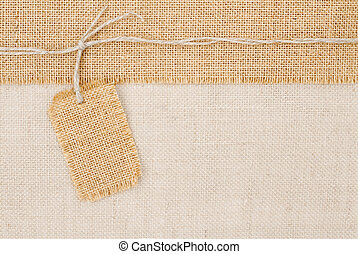 burlap, sur, toile sac, texture, étiquette, établissement des prix