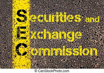 business, échange, acronyme, titres, commission, sec, comptabilité