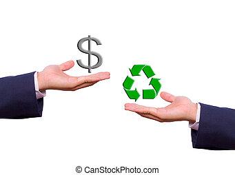 business, échange, signe dollar, homme, recycler, main, icône