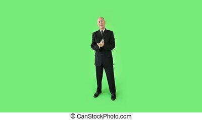 business, écran, confiant, vert, entrevue, personne agee, caucasien, homme