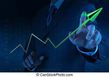 business, écran, diagramme, virtuel, main, informatique, toucher, homme affaires, dessin, 3d