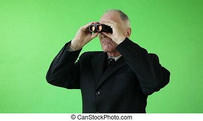 business, écran, inquiété, jumelles, vert, personne agee, caucasien, homme