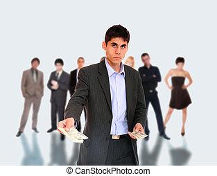business, éditorial, équipe, debout, sien, devant