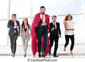 business, éditorial, leur, marcher, vestibule, équipe, bureau