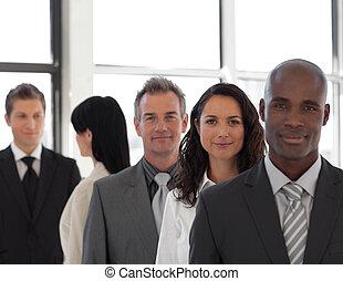 business, éditorial, sérieux, équipe, devant