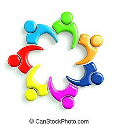 business, 7, logo, 3d, réunion, icône