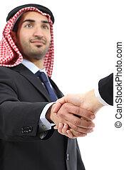 business, arabe, homme, poignée main, saoudien, emirats