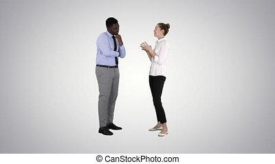 business, arrière-plan., femme, quelques-uns, gradient, donner, patron, elle, idées