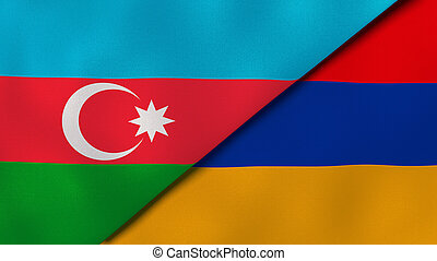 business, arrière-plan., nouvelles, reportage, armenia., azerbaïdjan, drapeaux, illustration, 3d