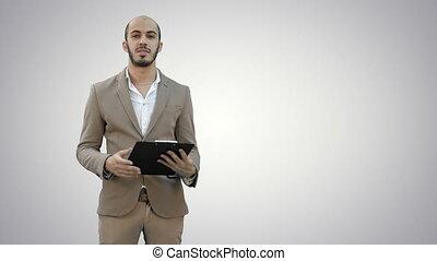 business, arrière-plan., presse-papiers, présentation, tenue, rapport, homme affaires, blanc