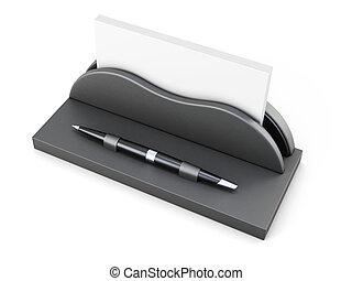 business, arrière-plan., rendre, stylo, blanc, support, carte, 3d