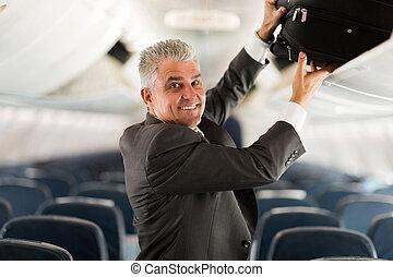 business, bagage, serrure, milieu, mettre, voyageur, aérien, vieilli