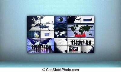 business, boucle, montage, graphiques, animation, fond, rendre, la terre, 4k