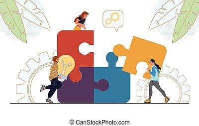 business, brain-storming, morceau, gens, puzzle, relier