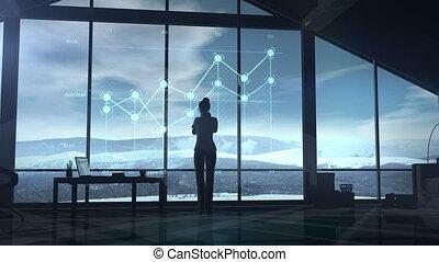 business, bureau, femme, infographic, fenêtre., regarder