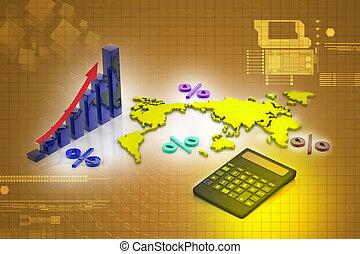 business, calculatrice, diagramme