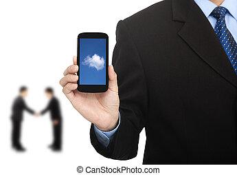 business, calculer, réussi, téléphone, nuage, intelligent