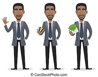 business, caractère, américain, africaine, dessin animé, homme