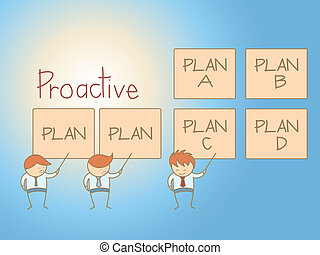 business, caractère, solution, plan, dessin animé, proactive, homme
