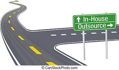 business, chaîne, fourniture, décision, outsource, inhouse