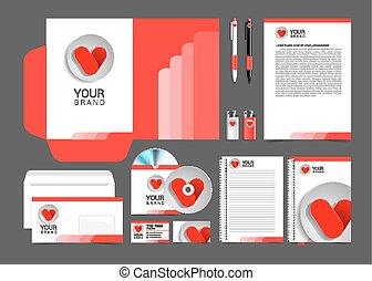 business, conception, identité, gabarit, cœurs, constitué, rouges