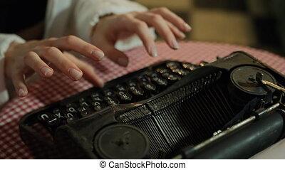 business, concepts., retro., secrétaire, dactylographie, songeur, typewriter., mains, vieux