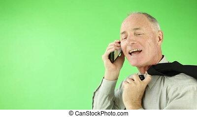 business, confiant, écran, téléphone, vert, personne agee, caucasien, homme