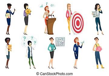 business, docteur, set., profession, femme, hôtesse