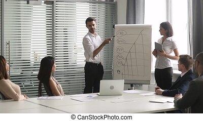 business, donner, aide, diagramme, chiquenaude, orateur, asiatique, présentation, caucasien
