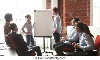 business, donner, employés, diagramme, chiquenaude, entraîneurs, divers, professionnel, présentation, ou