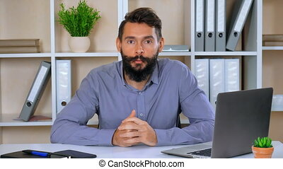 business, donner, entrevue, portrait, présentation, ou, homme