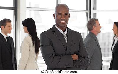 business, ethnique, éditorial, équipe, sourire, devant