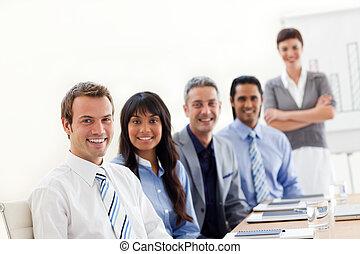 business, ethnique, présentation, projection, groupe, diversité