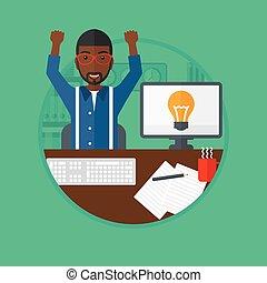 business, excité, idea., créatif, avoir, homme