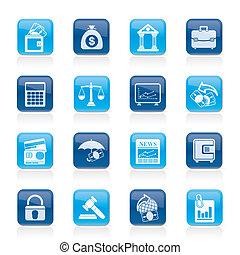 business, finance, banque, icônes